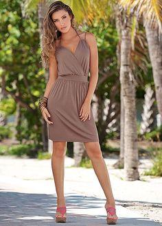 Multi strap knit dress, mesh wedge sandal in the VENUS Line of Dresses for Women