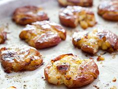Roasted Smashed Potatoes, a recipe passed to me from my Mom. Good with blue cheese on top