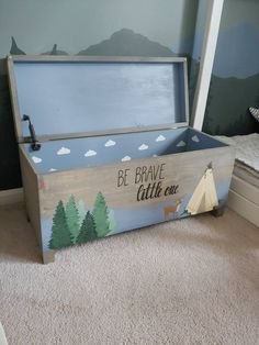 Farmhouse toy boxes, decor, and more by PetalsInPinkDesigns Boys Toy Box, Kids Toy Chest, Kids Toy Boxes, Kids Toys, 80s Kids, Wooden Toy Boxes, Painted Wooden Boxes, Painted Toy Chest, Wood Toy Chest