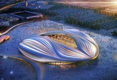 Impressie van Hadids stadion in Qatar.