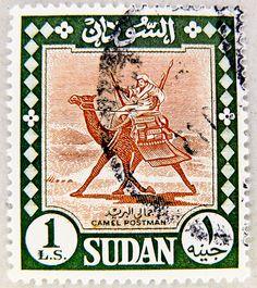 "great old postage stamp Sudan 1 ₤.S. £ S ""camel postman"" timbre soudan السودان طابع بريدي francobolli bollo sellos selo Sudan ма́рка Суда́н 邮票 苏丹 marka Briefmarke Sudan 1 £S Camel Postman スーダン by stampolina, via Flickr"
