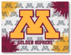 Minnesota Golden Gophers D1 Printed Logo Canvas. Visit SportsFansPlus.com for Details.