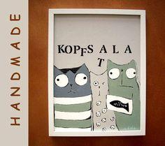 Wanddeko - KOPFSALAT - nikita, Original, Wanddekoration, Bild - ein Designerstück von nikita76 bei DaWanda Designer, Etsy, Handmade, Home Decor, Lettuce, Room Wall Decor, Pictures, Hand Made, Decoration Home