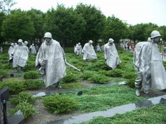 Korean War Veterans Memorial, Washington DC - I have to say I am not much for war memorials but this one was something. Saw it in evening so it really had an effect with fog around thier feet in the dimming light. Miss America, God Bless America, Korean War Veterans Memorial, Washington Dc, Home Of The Brave, Lest We Forget, Vacation Trips, Vacations, Sculptures