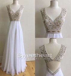 White A-line v neck sequin rhinestone long prom dress