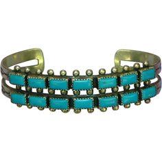 Native American Indian Sterling Silver Sleeping Beauty Turquoise Fred Harvey Era Cuff Bracelet