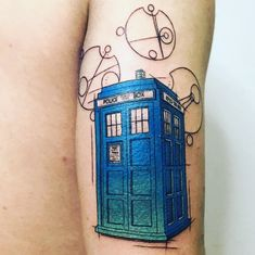 Pretty Tattoos, Unique Tattoos, Tardis Tattoo, Sleeve Tattoos, Nerd Tattoos, Doctor Who Tattoos, Gaming Tattoo, Doctor Who Tardis, Cool Tats