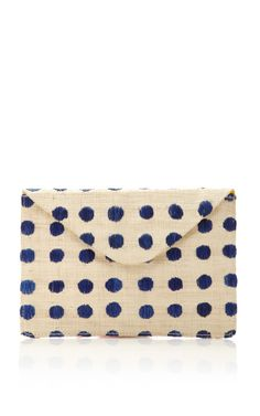 Shop Embroidered Polka Dot Raffia Clutch by KAYU Now Available on Moda Operandi