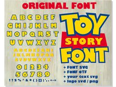 Toy Story font SVG + Toy Story font OTF + Toy Story your text + Toy Story logo svg png / Original Font / DIY Projects Toy Story Font, Toy Story Shirt, Toy Story Theme, Toy Story Party, Toy Story Birthday, Birthday Diy, Cumple Toy Story, Festa Toy Story, Mickey Mouse Parties