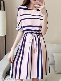 Round Neck Drawstring Striped Skater Dress Looking for Latest Trends Street Skater Dresses? Off you really don't want to miss Enjoy First Order Off Cheap Skater Dresses, Women's A Line Dresses, Floral Skater Dress, Day Dresses, Striped Dress, Cute Dresses, Casual Dresses, Fashion Dresses, Skater Skirts