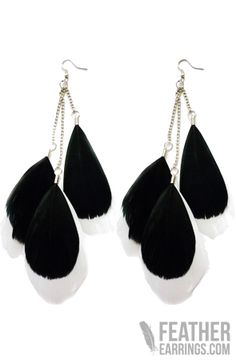 Black and White Goose Feather Earrings $15.49