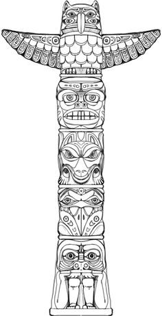 Totem (game puzzle) on Behance Native American Tattoos, Native Tattoos, Native American Symbols, Cherokee Indian Tattoos, Tribal Art Tattoos, American Indians, Totem Pole Drawing, Totem Pole Tattoo, Totem Pole Art