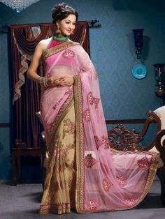Light Pink Soft Net Saree With Resham And Zari Embroidery Work www.saree.com