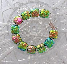 Dichroic Bracelet Dichroic Fused Glass Glass by GalaxyGlassStudio