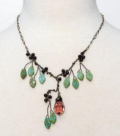 Burgundy Statement Necklace Vintage Style Jewelry CherylParrottJewelry