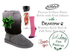 BEARPAW Women's Keely Boot + BEARPAW Full Terry Sock + Aci Art Flavor It Glass Water Bottle with Fruit Infuser