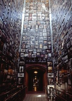 Exhibit at the Holocaust Memorial Museum in D.C. Every picture is a Holocaust victim...they extend beyond eyesight in both directions.