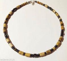 Men-039-s-Handmade-Necklace-With-Natural-Jasper-Hematite-Gemstones