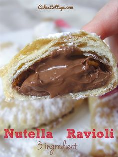 Three Ingredient Nutella Ravioli - 3 main ingredient delicious, crispy, chocolate-y, Nutella ravioli **donyou fuckers see this! Yummy Treats, Sweet Treats, Yummy Food, Just Desserts, Dessert Recipes, Chocolates, Nutella Recipes, Ravioli, Love Food