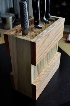 You can create your own knife block using Bamboo Skewers from the Dollar Store.  It's a great way to store your mismatched knives.    You ca...
