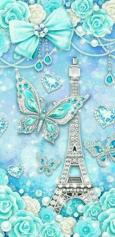 Eiffel y brillos - Capirènecrochet - Pint Paris Wallpaper, Bling Wallpaper, Cute Wallpaper Backgrounds, Galaxy Wallpaper, Mobile Wallpaper, Blue Butterfly Wallpaper, Flower Phone Wallpaper, Butterfly Art, Cellphone Wallpaper