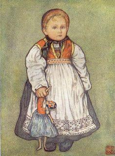 Jungmann Nico Wilhelm a-baby-of-telemarken,Norway, with a doll Doll Painting, Painting Of Girl, Folk Costume, Costumes, Dutch Women, Farm Boys, Scandinavian Art, Dutch Artists, Believe In God