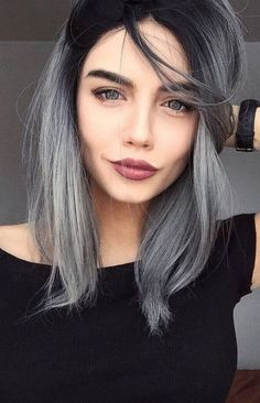 All you need to know about ash gray hair color! We take a closer look at the ash gray hair color! Grayscale is one of the most ambitious hair colors that have come into our lives. Ash Gray Hair Color, Ombre Hair Color, Blue Hair, Dark Hair, Grey Hair Dark Roots, Hair Highlights, Balayage Hair, Gray Balayage, Hair Looks