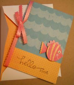 Hello Friend Stationery Card Blank inside Fish ocean by iluvmarin, $3.50 #abees #swag #rt #boebot