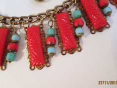 Art Deco Egyptian inspired bib necklace by ScreenGems333 on Etsy, $48.00