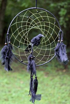 Raven Magic  Dream Catcher. The raven shows us how to go into the dark of our inner self and bring out the light of our true self; resolving inner conflicts which have long been buried. This is the deepest power of healing we can possess.