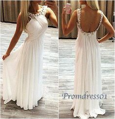 Unique white chiffon prom gown, beaded open back long prom dress for teens #coniefox #2016prom