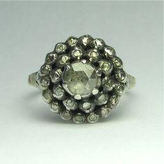 Vintage Georgian Revival 14K & Sterling Silver Rose Cut Diamond Ring