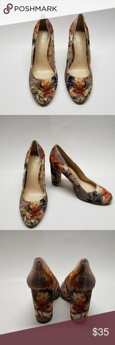 Nine West shoes Totally on trend,  brushed velvet, chuncky heel with a floral pattern. Nine West Shoes