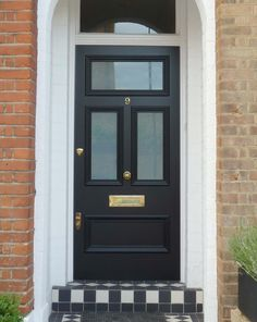 At London Door Company we are passionate about creating high quality bespoke front doors. Every period front door we create is handmade and hand-painted. Black Front Doors, Modern Front Door, Wood Front Doors, Front Door Design, Front Door Colors, Fromt Doors, Front Door Porch, House Front Door, House Doors