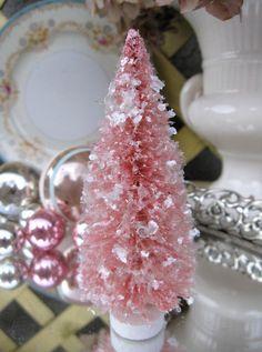 Vintage Style Christmas Pink Bottle Brush Tree 5 by saturdayfinds Noel Christmas, Pink Christmas, Vintage Christmas, Christmas Crafts, Christmas Decorations, Christmas Ornaments, Christmas Birthday, Tree Decorations, Xmas