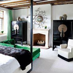 schlafzimmer im asiatischen stil - naturfreundlich aussehen- grün weiß swarz und braun