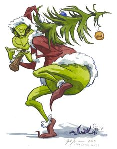 """'The Grinch Song': """"You're a mean one, Mr. Grinch, You really are a heel. You're as cuddly as a cactus, you're as charming as an eel, Mr. Grinch, You're a bad banana with a greasy black peel! You're a rotter, Mr. Grinch, You're the king of sinful sots, Your heart's a dead tomato splotched with moldy purple spots, Mr. Grinch, You're a three decker sauerkraut and toadstool sandwich with arsenic sauce!""""  http://www.41051.com/xmaslyrics/grinch.html (The Grinch - illus. by Jill Thompson)"""