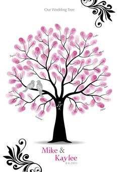 Fingerprint Wedding Tree Guest Book Poster with Ink Pad, Wedding Gift, Family Tree, Personalized Print w/ Love Birds, 13x19. $36.00, via Etsy.
