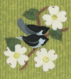 Birds on a Dogwood Branch Quilt Block Sewing Crafts — Country Woman Magazine Applique Patterns, Applique Quilts, Quilt Patterns, Pdf Patterns, Bird Quilt, Tree Quilt, Cute Quilts, Small Quilts, Penny Rugs