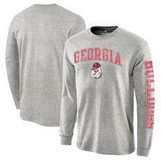 Georgia Bulldogs Distressed Arch Over Logo Long Sleeve Hit T-Shirt - Heathered Gray - $19.99