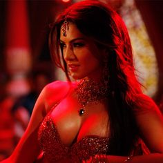 Sunny Leone reveals her cleavage during a shoot