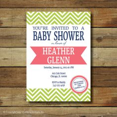baby shower invitation chevron oh happy day by saralukecreative, $15.00