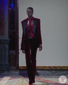 Burgundy Womens Evening Suit. Fall Winter 2020 / 2021 Ready-to-Wear Collection. Runway Show by Redemption.