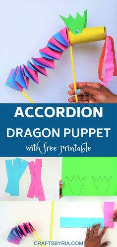 Fun paper dragon accordion puppet  with free printable. Great recycled craft idea for kids using toilet paper roll and paper.Cute craft idea for Chinese New year. #craftsforkids #papercraftsforkids #puppetcraft
