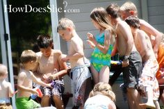 Host a COOL Backyard Water Park! I love getting together with friends during the summer!