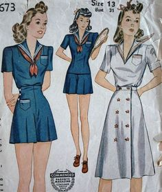 Bertie - 1940s WWII Era Vintage Style 3 Piece Sailor Girl Romper Playsuit  Day Dress - Pattern by agnes