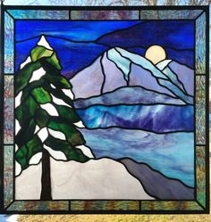 Silent Night by Michelle Carlson, stained  glass mountains  www.rockledgeglassdesign.com stained glass mountains in moonlight