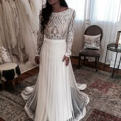 Lace Boho chic wedding dress with sleeves - Melanie by Flora