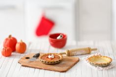 Miniature Playscale Pumpkin Pie with Whip and Pecans by puttering, $7.00…