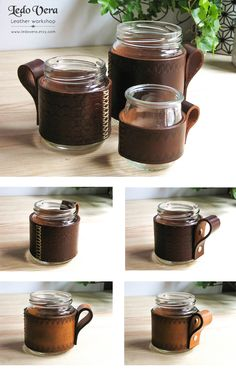 Leather wrapped jar. Leather jar holder. Leather mug. Leather dark brown jar…